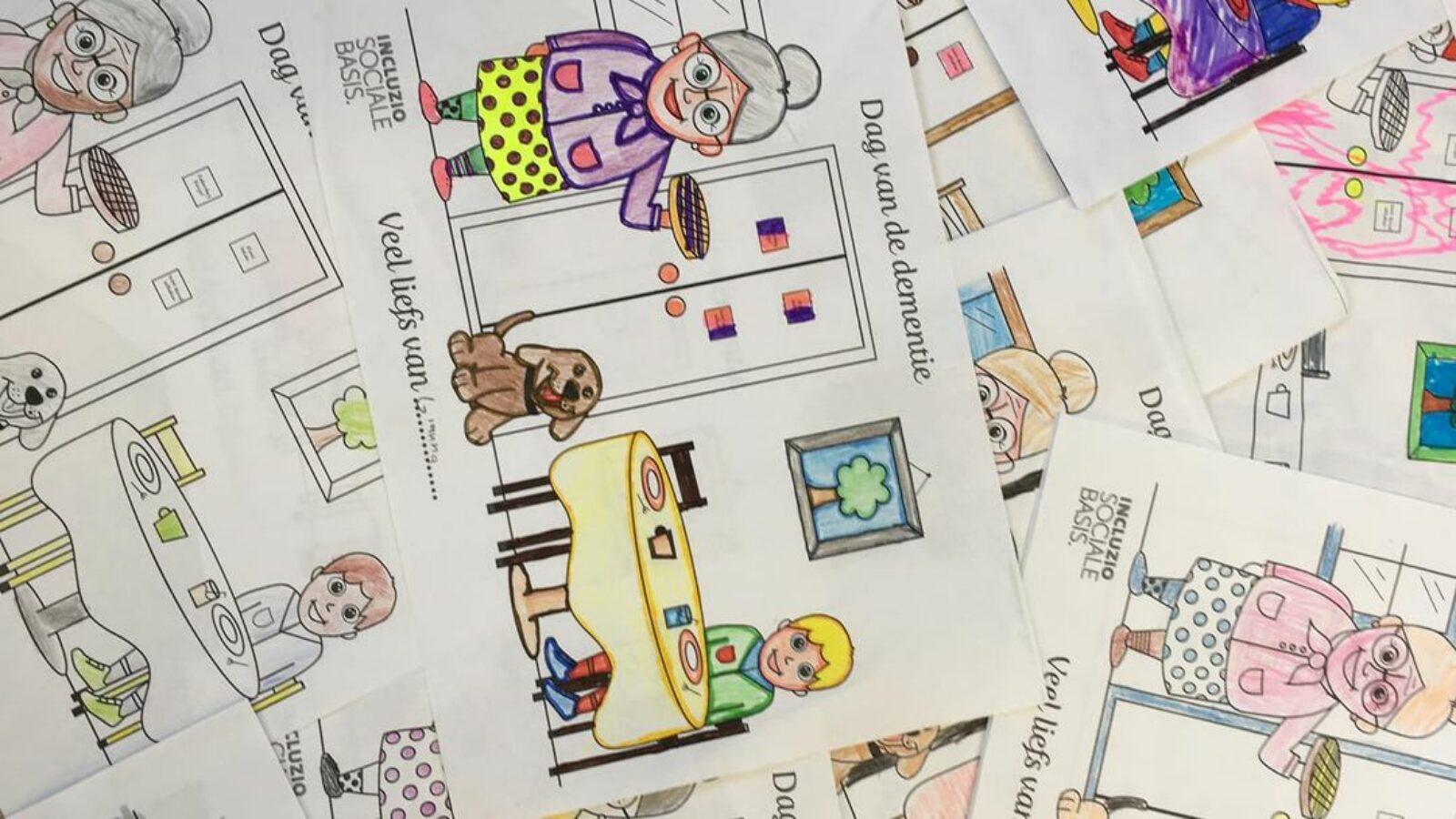Kleurplaten door kinderen voor dementerende ouderen